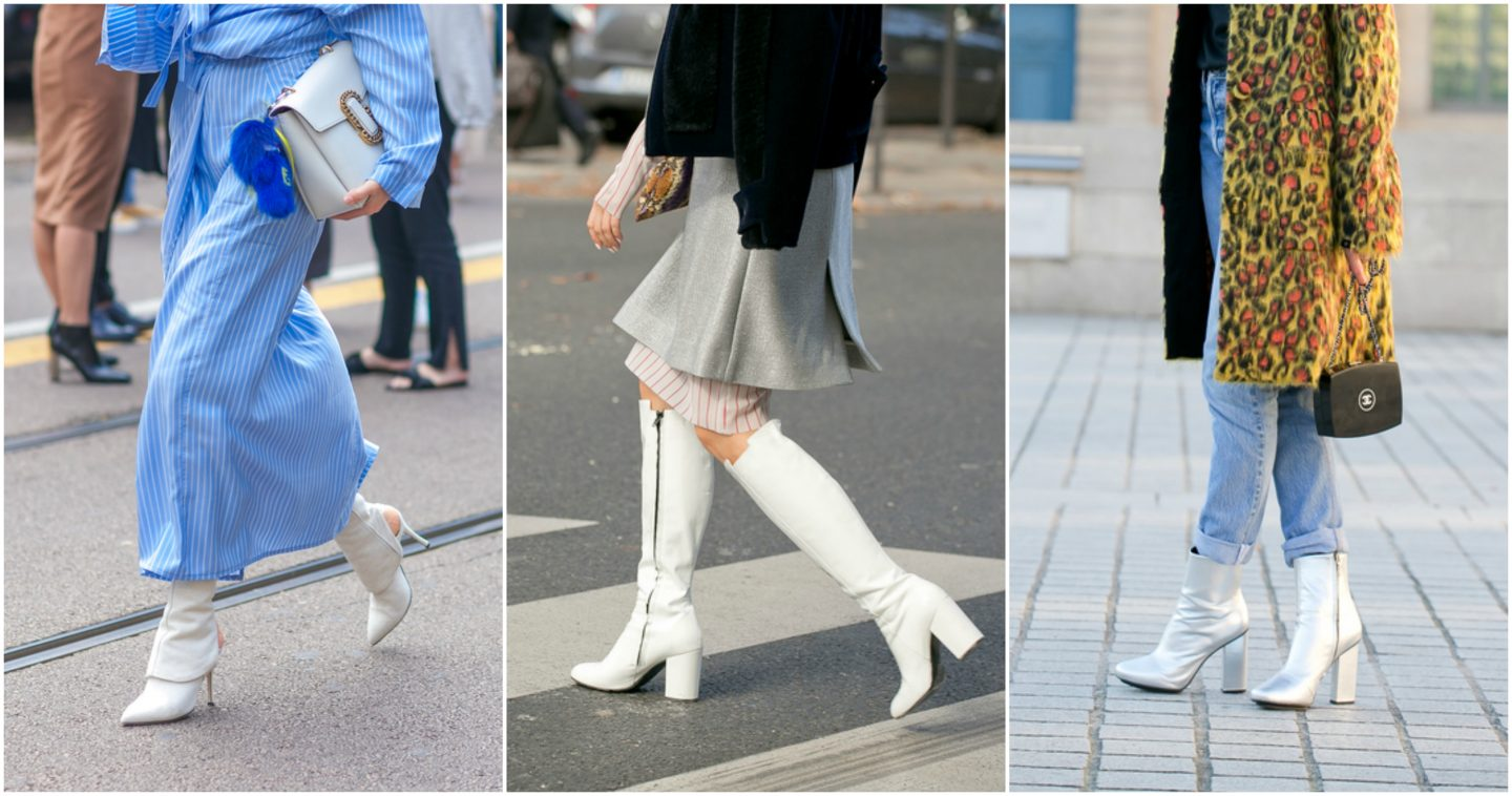 white boots trend on the runway
