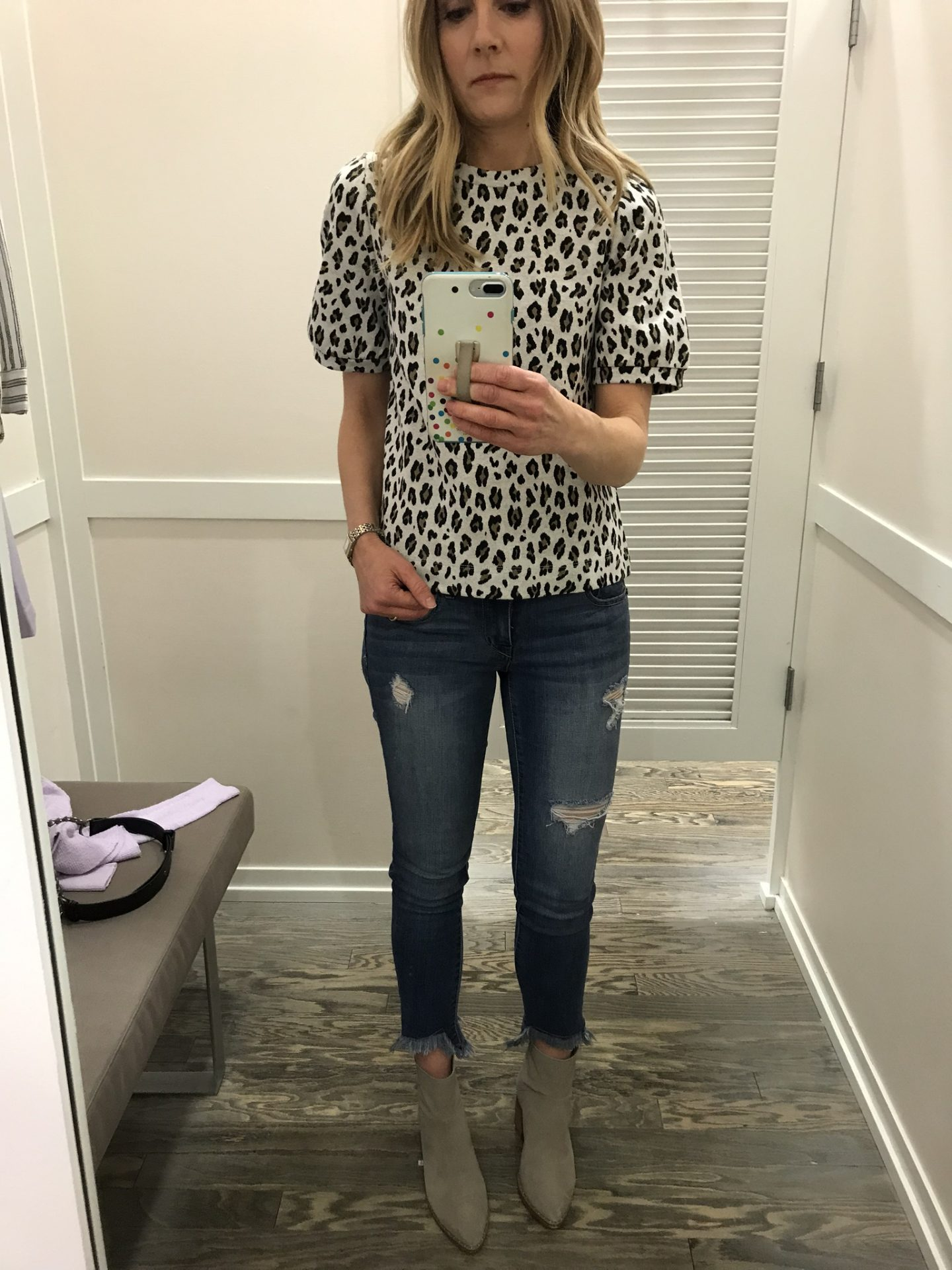spring trend leopard print short sleeve top at loft