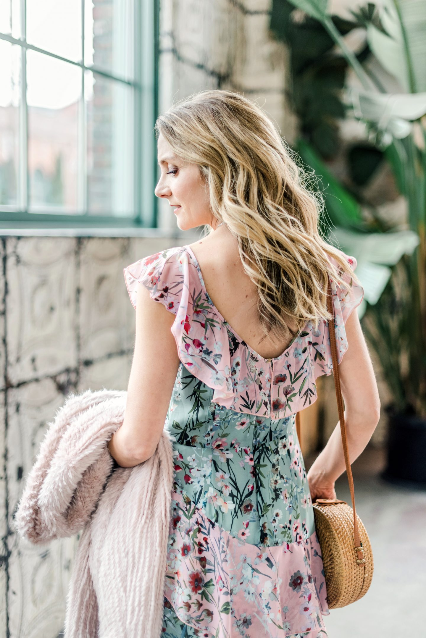 back view of floral dress