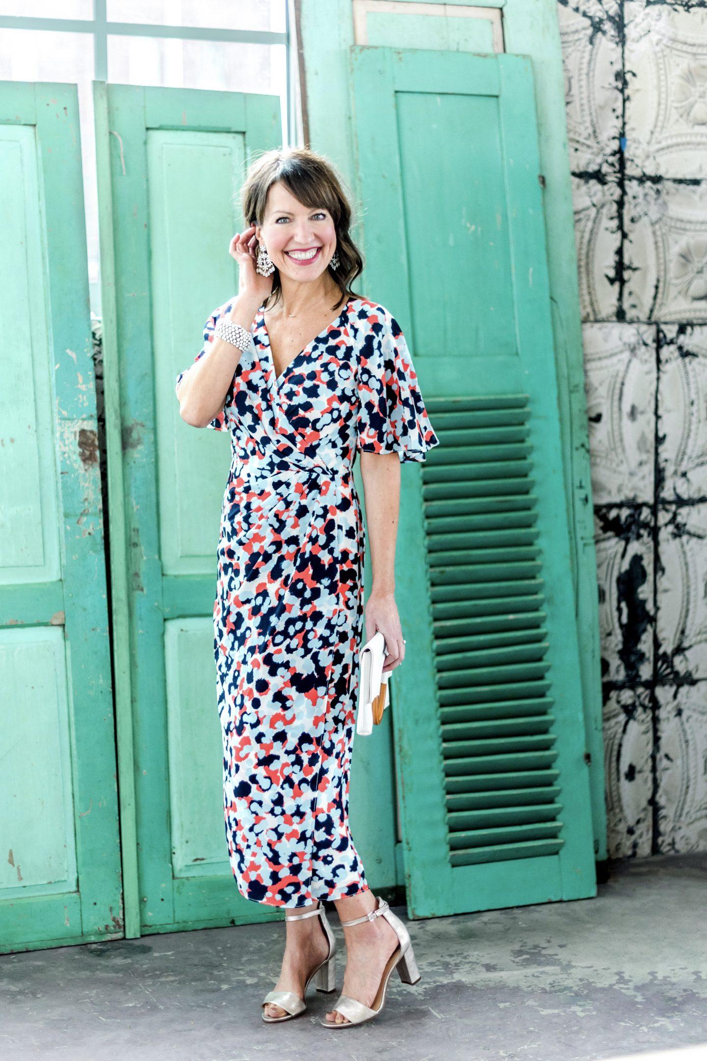 midi length patterned dress