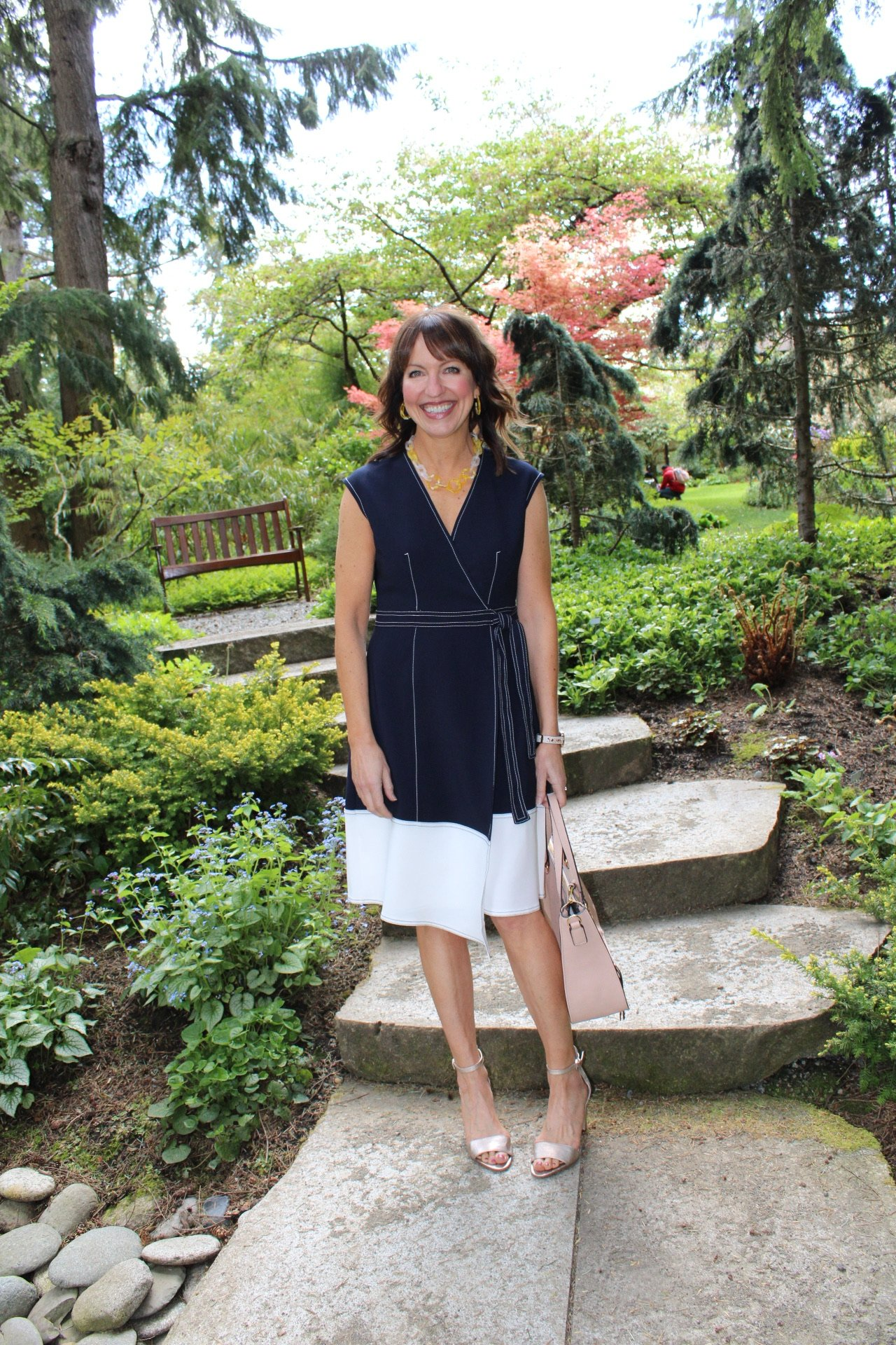 spring workwear dress, navy and white dress,