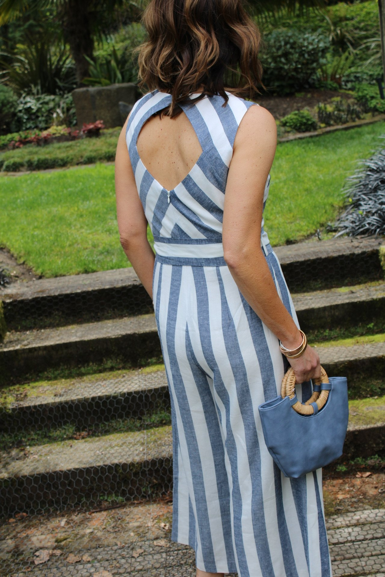 back view of striped jumpsuit