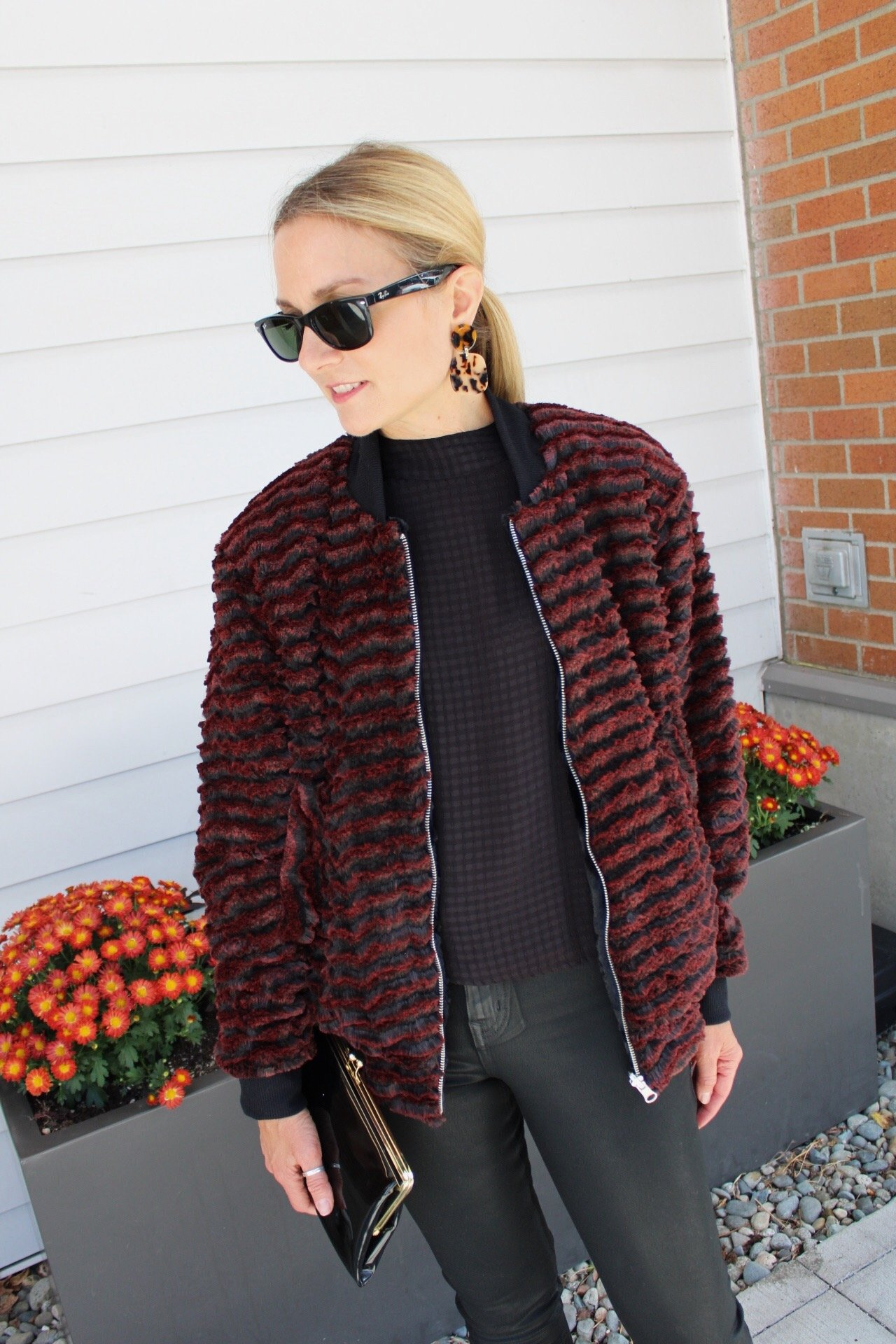faux fur bomber outfit, striped faux fur, faux fur jacket, reversible jacket