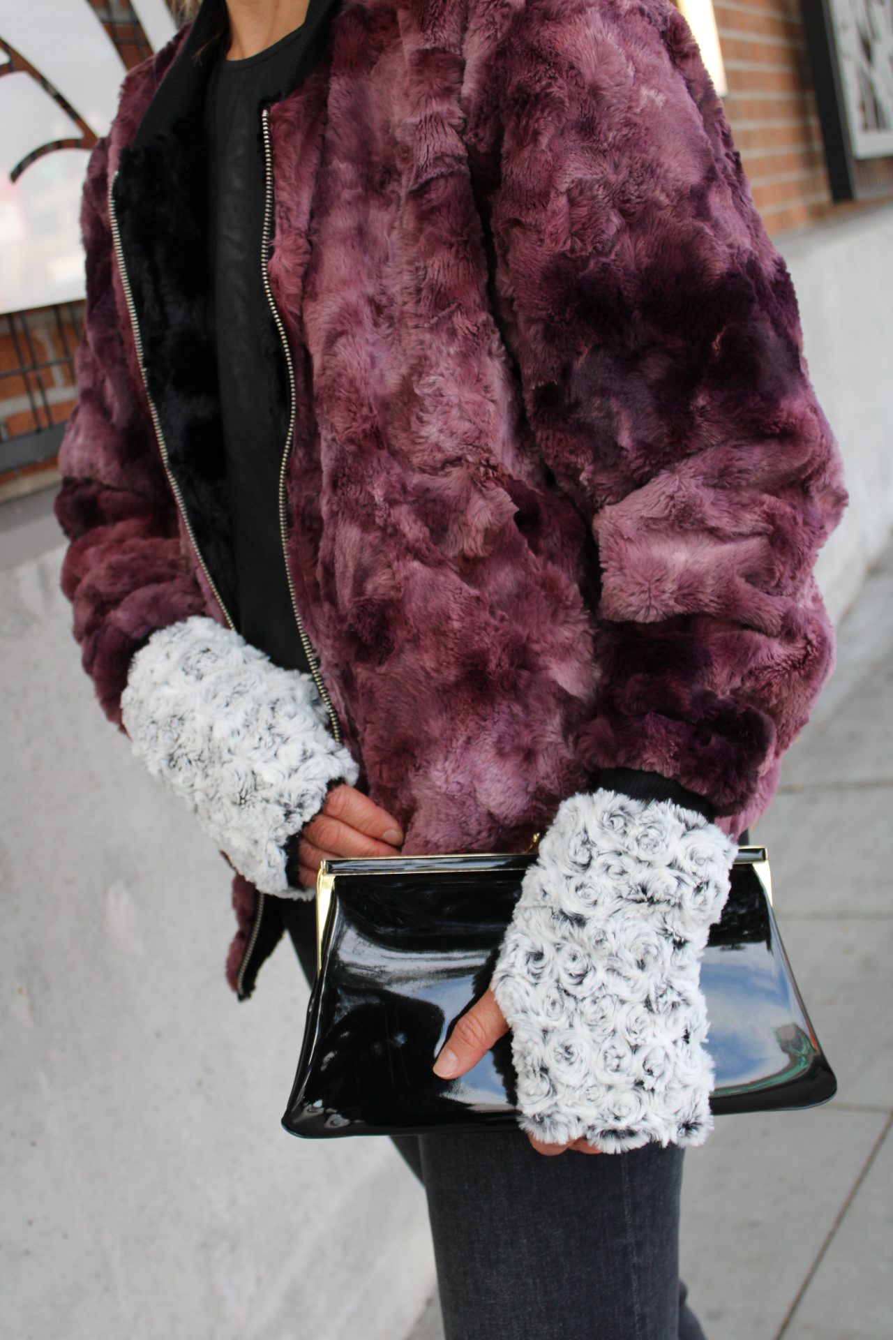 purple faux fur, fingerless gloves, texting gloves, faux fur gloves, faux fur accessories