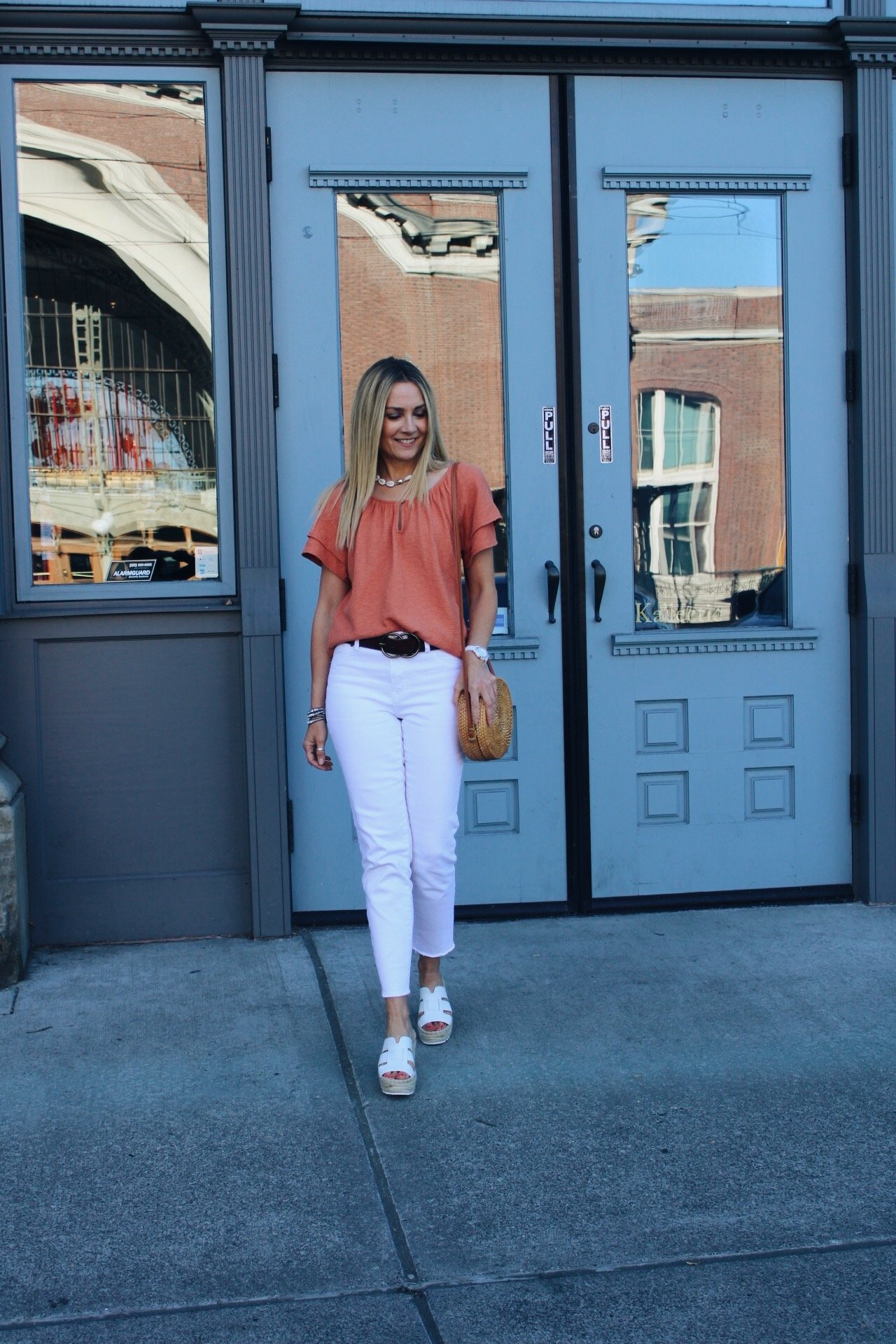 cropped white jeans with raw edge