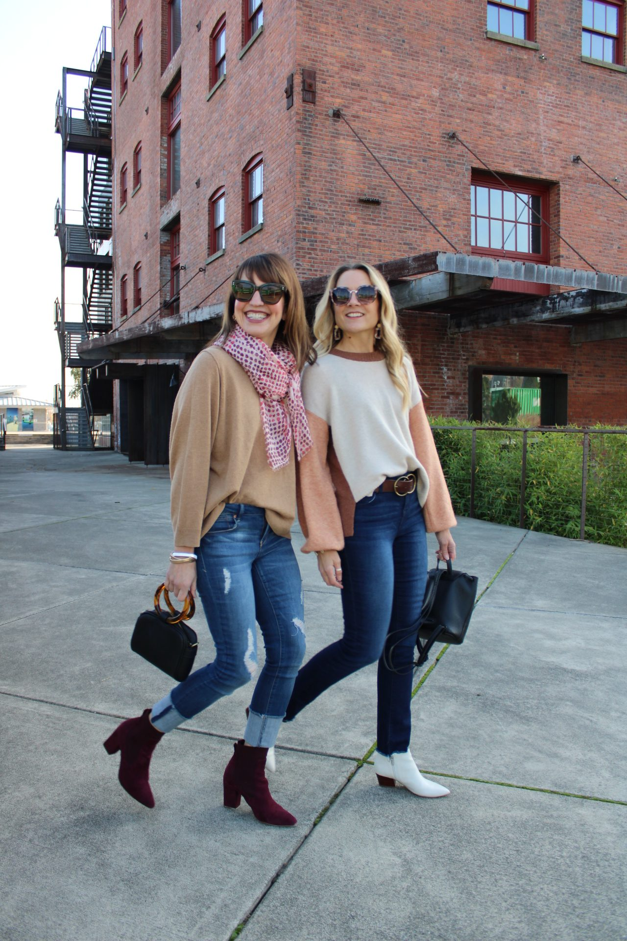 distressed roll cuff jeans and eco-friendly jeans with fall sweaters