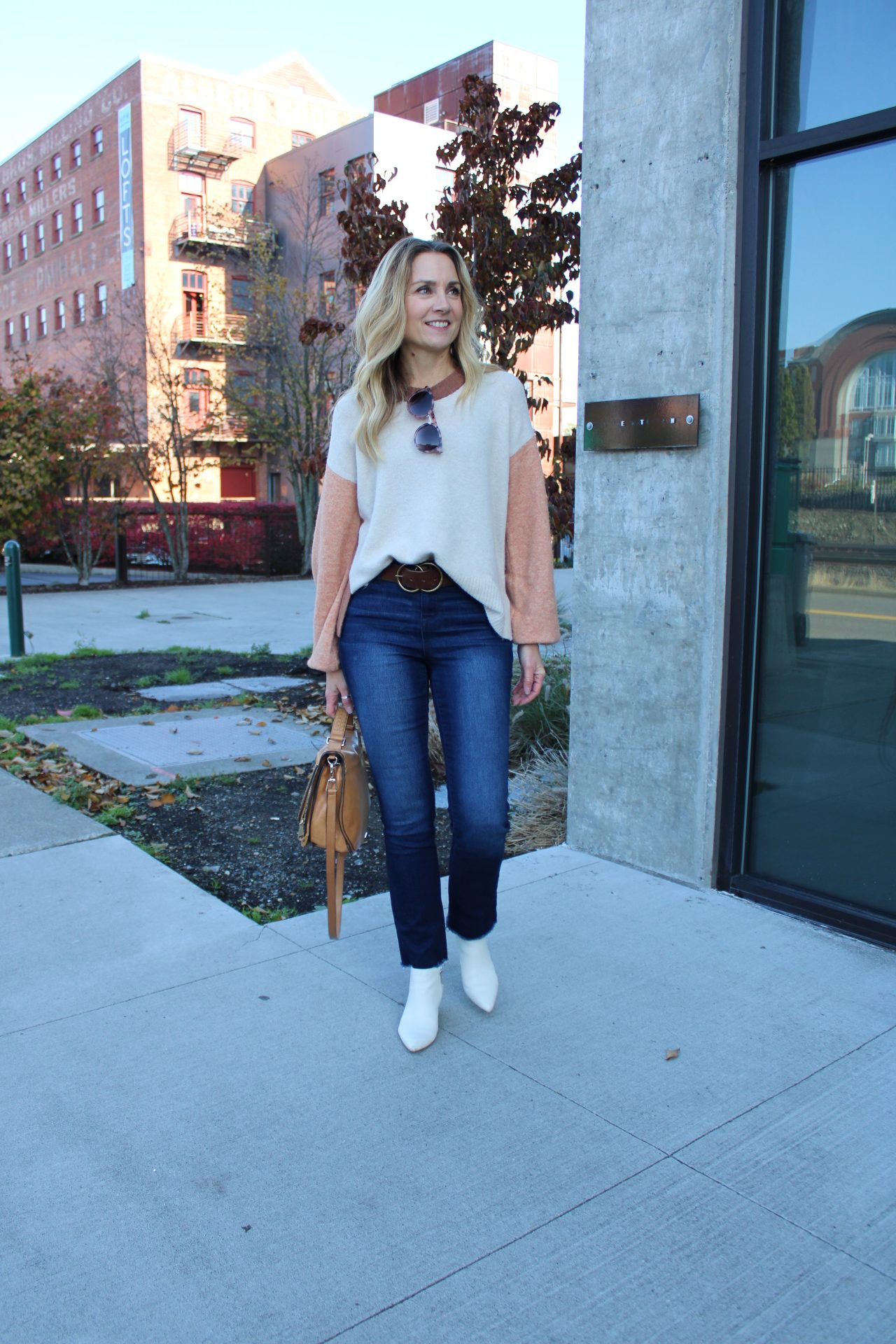re:denim line sustainable fashion jeans with colorblock fall sweater