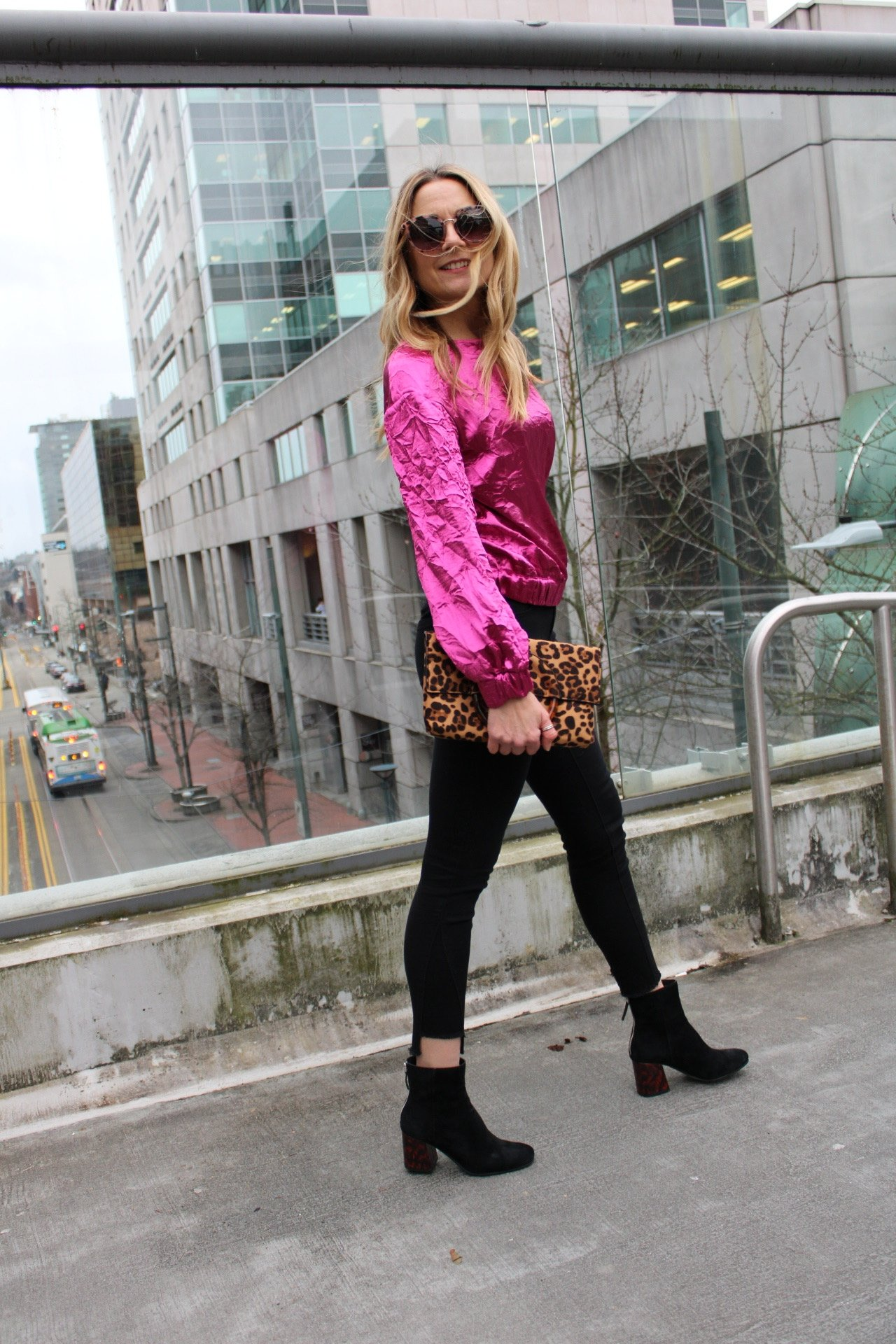 valentines day top, pink top, date  night outfit, going out outfit, blouse, women's fashion, black boots, target, dolce vita