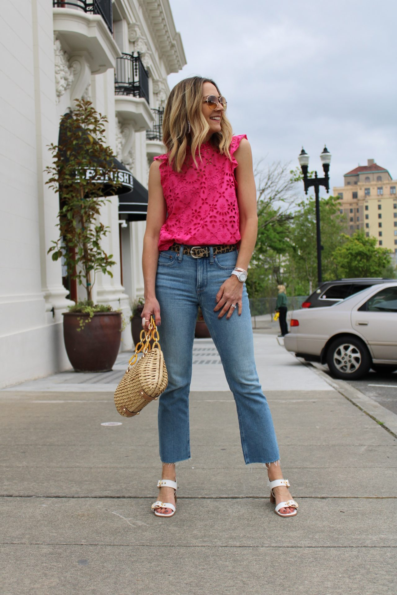 pink eyelet top with crop jeans and white sandals spring outfit, jcrew top, jcrew denim