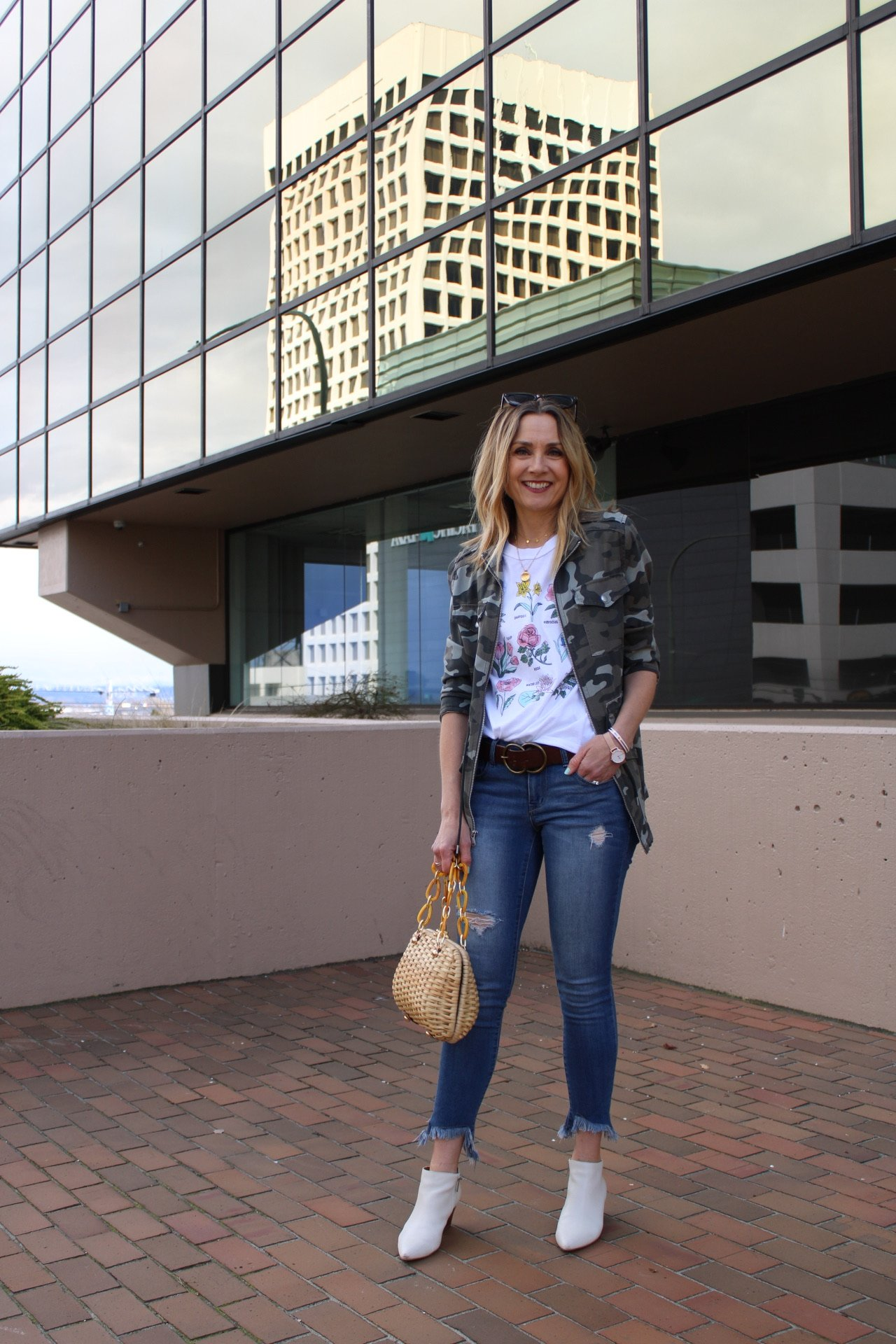 camo jacket with floral graphic tee, spring outfit, lightweight jacket