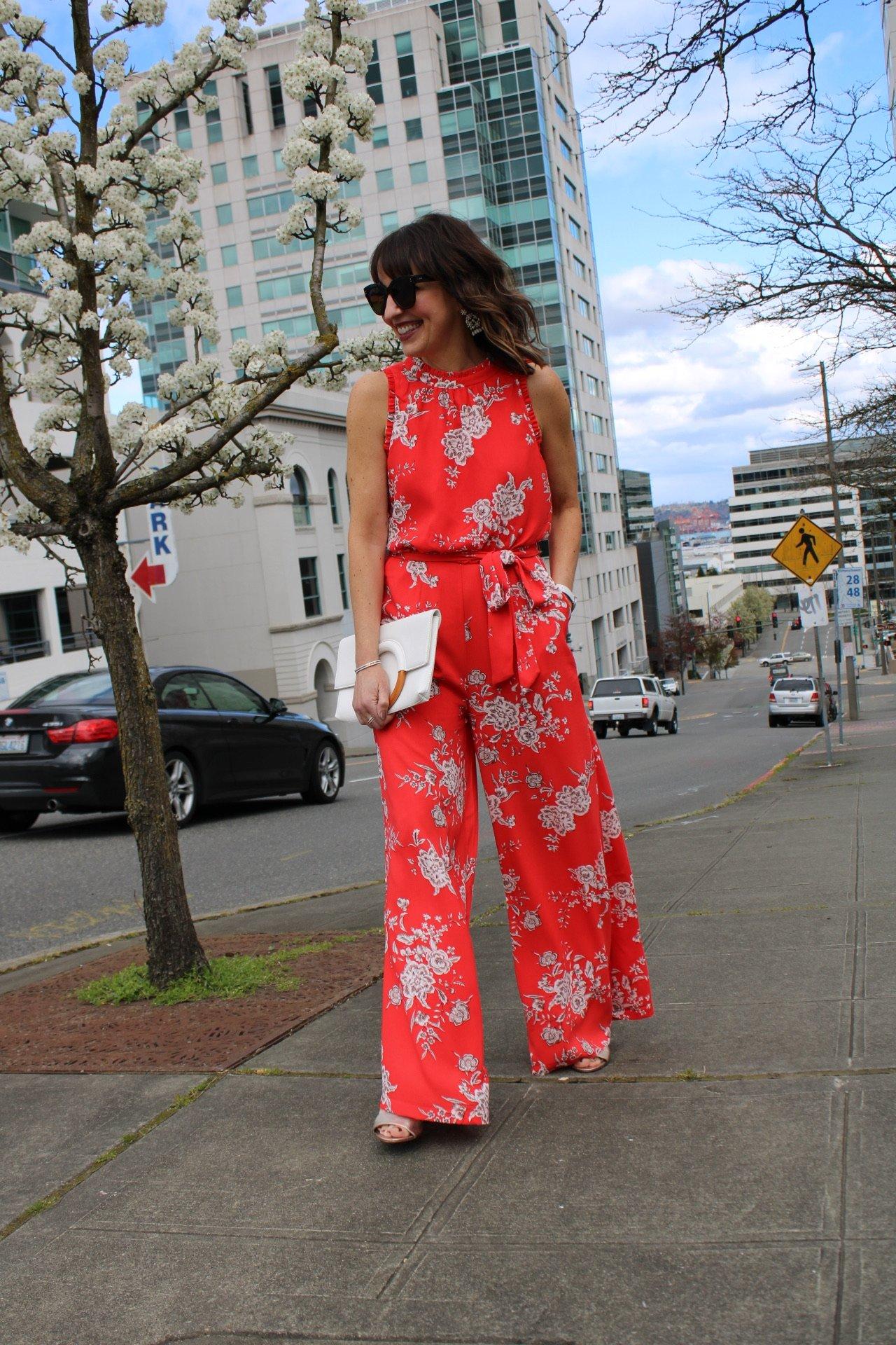 floral jumpsuit, red jumpsuit, dressy jumpsuit