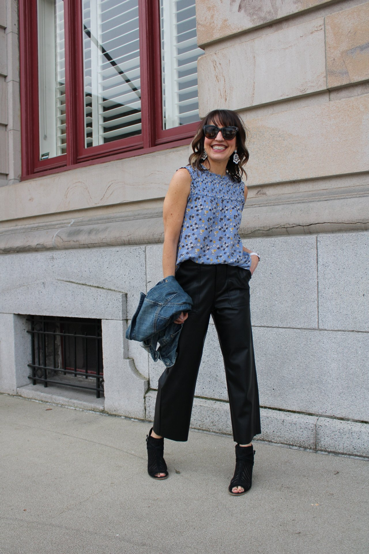 floral top, faux leather culottes, spring outfit
