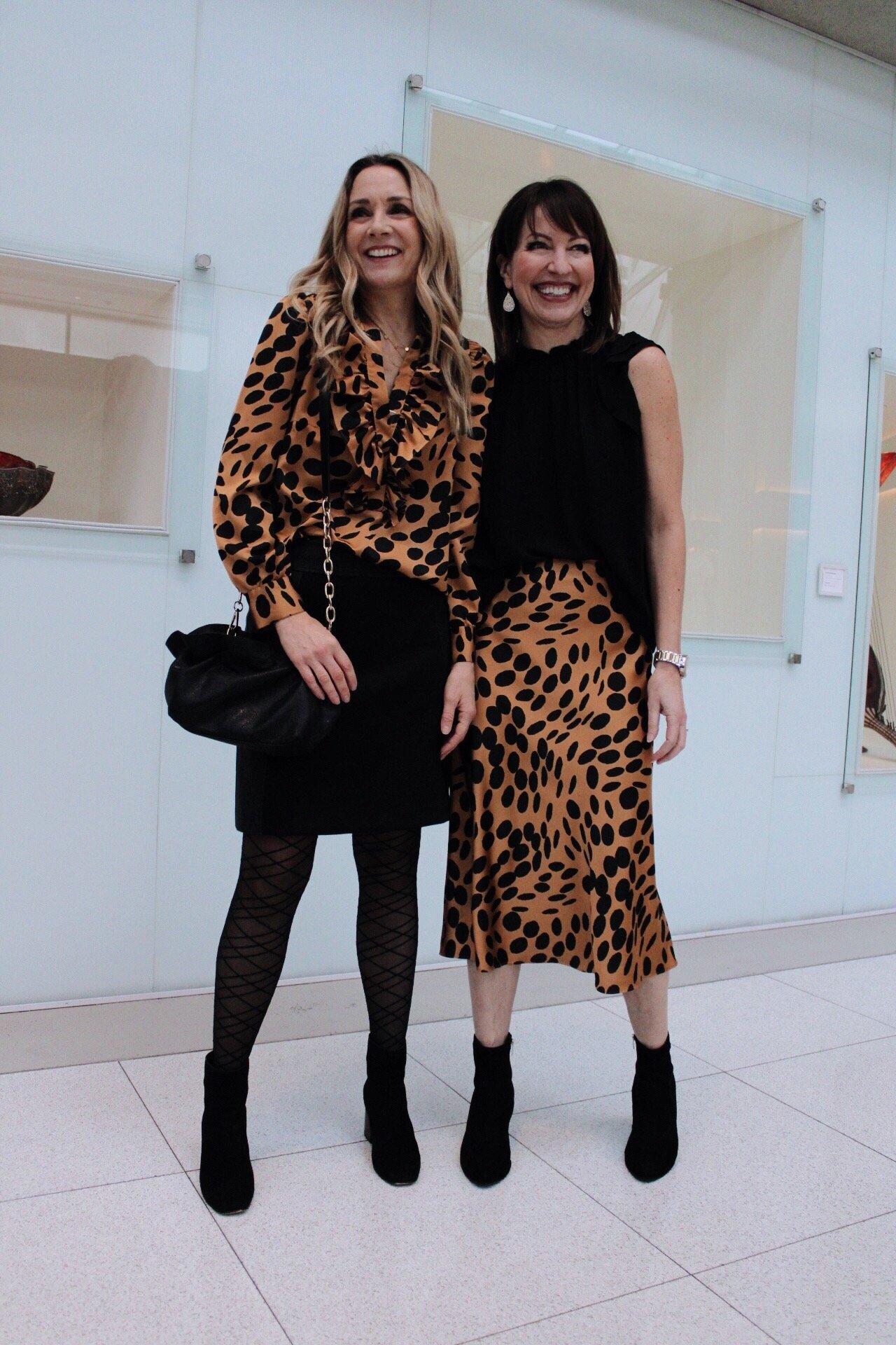 leopard blouse with mini skirt and black boots, leopard midi skirt with black top and black booties