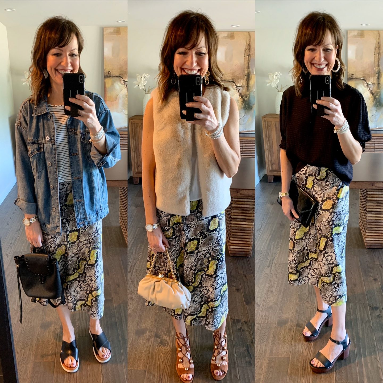 midi snakeskin outfit inspo three ways