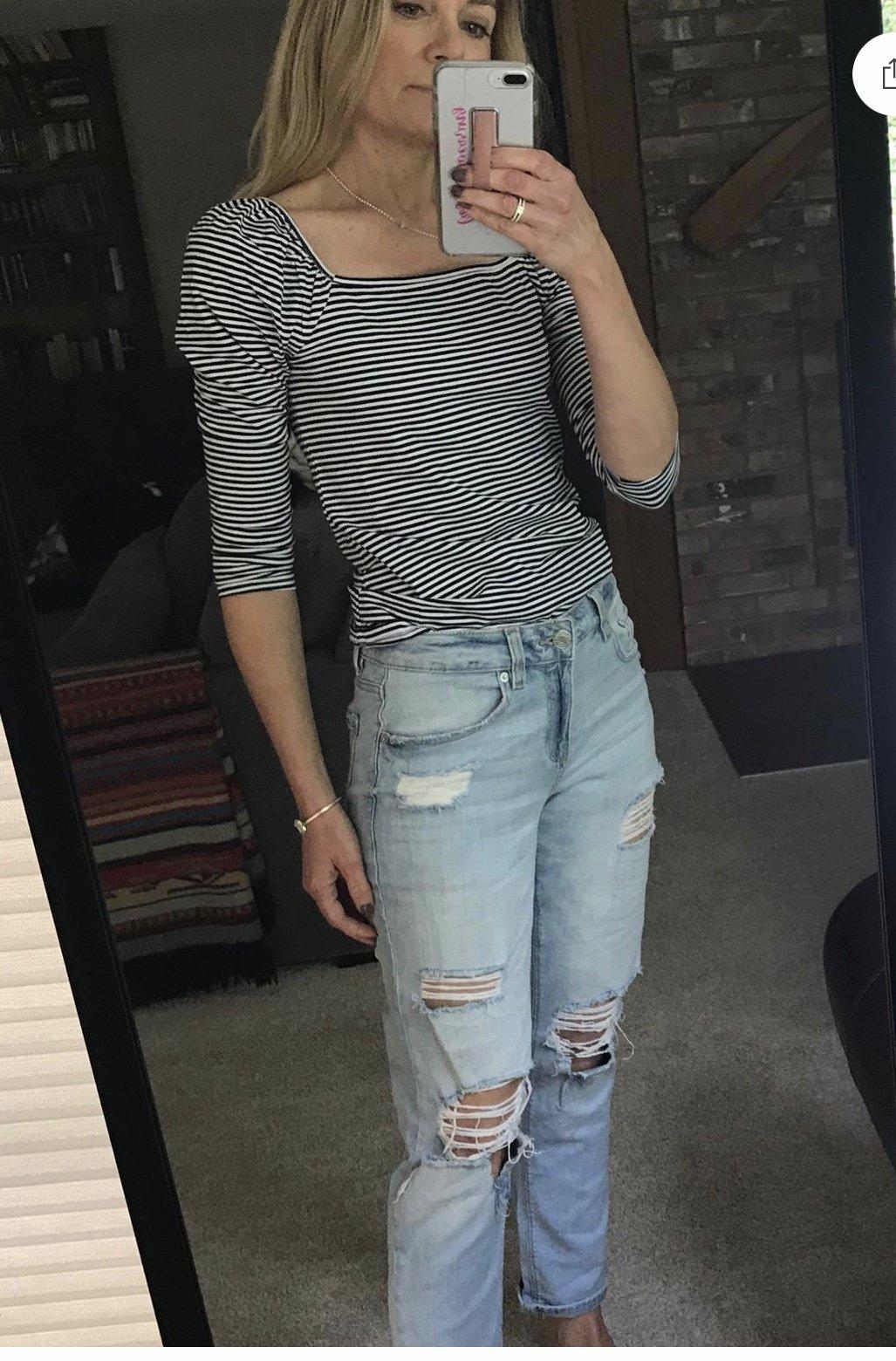 striped square neck top mirror selfie