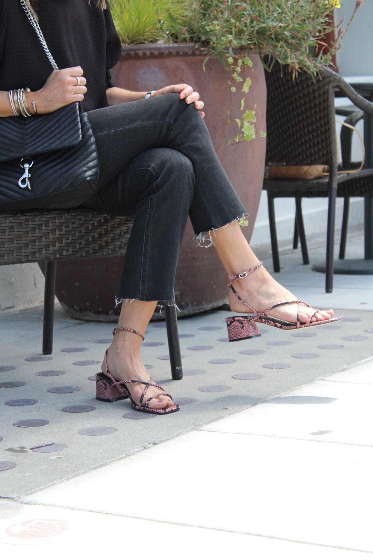 strappy snakeskin low block heel sandals