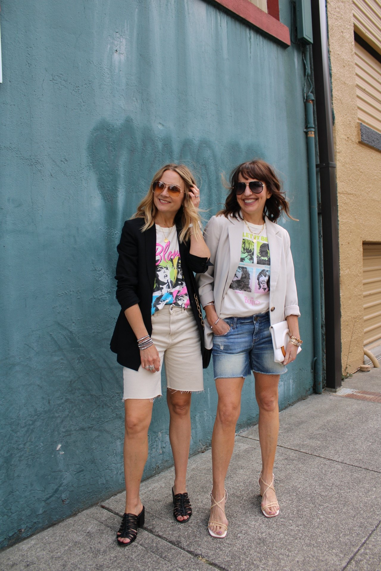 summer shorts with blazers and graphic tee