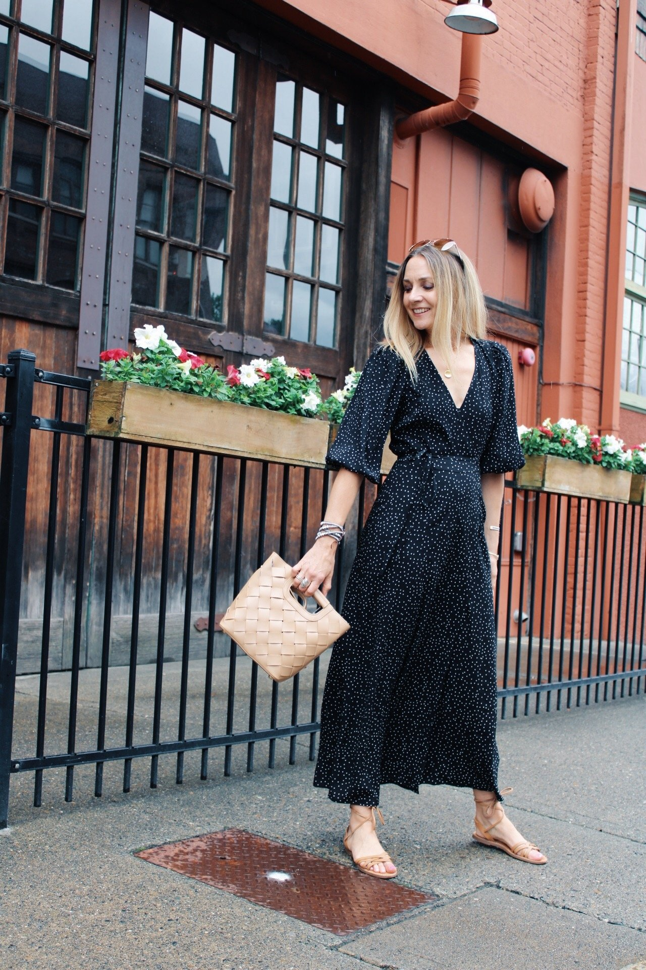black wrap midi dress with ankle wrap sandals