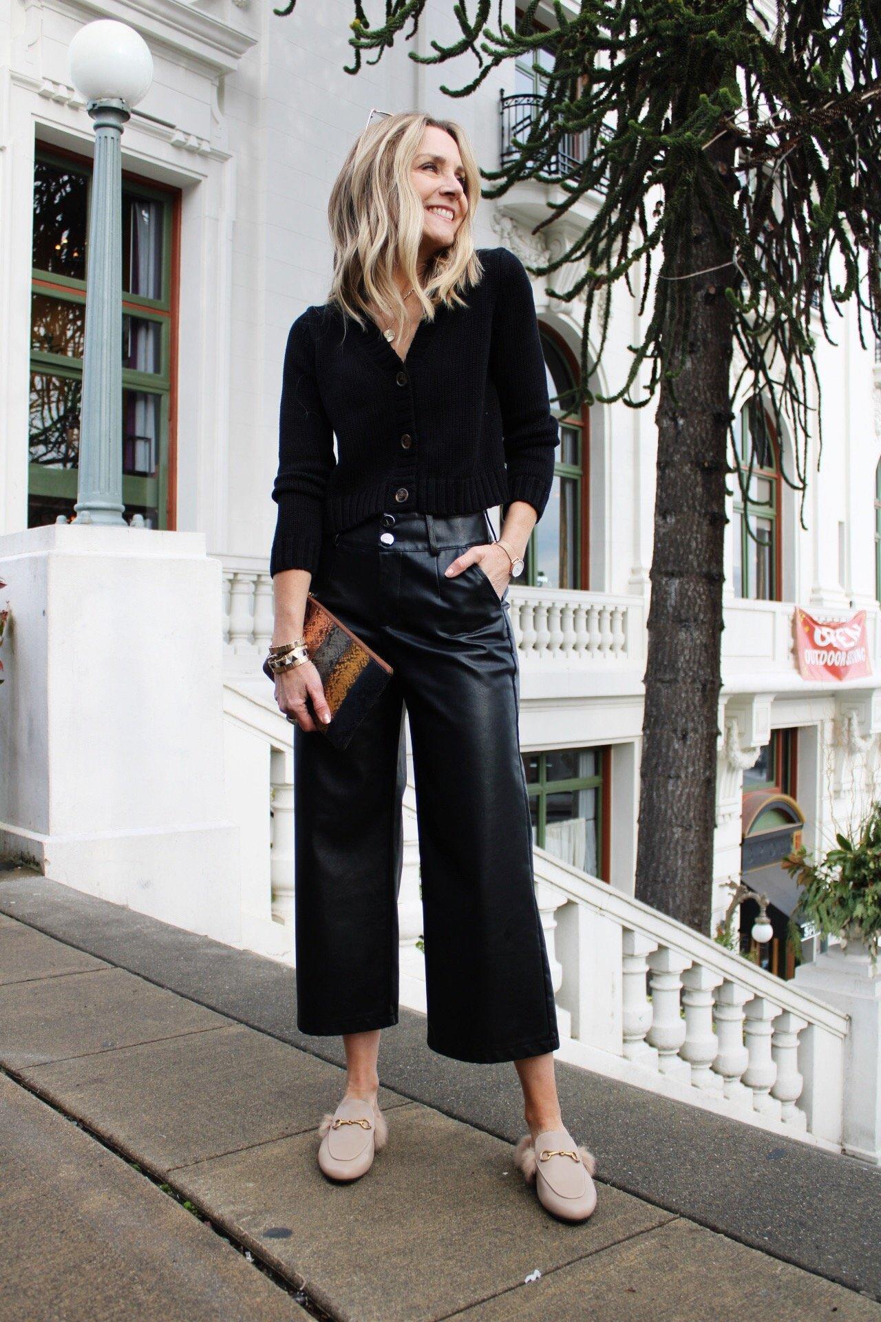 crop button front cardigan faux leather wide leg pants