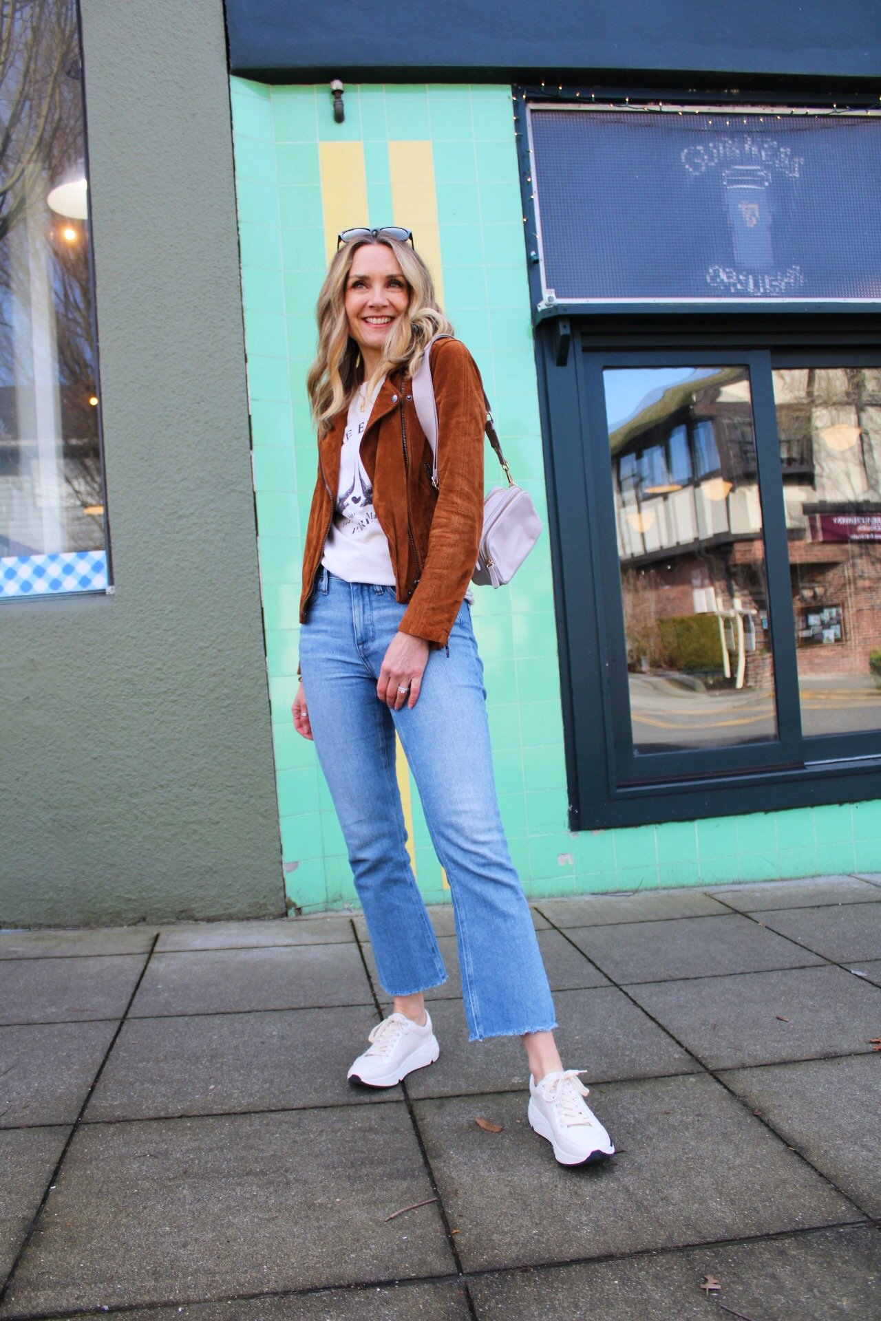 suede moto jacket spring outfit