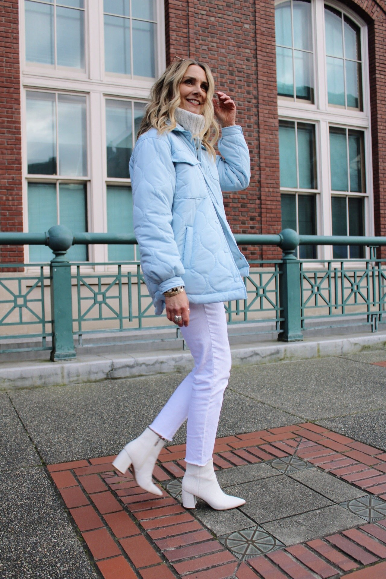 quilted shacket spring outfit