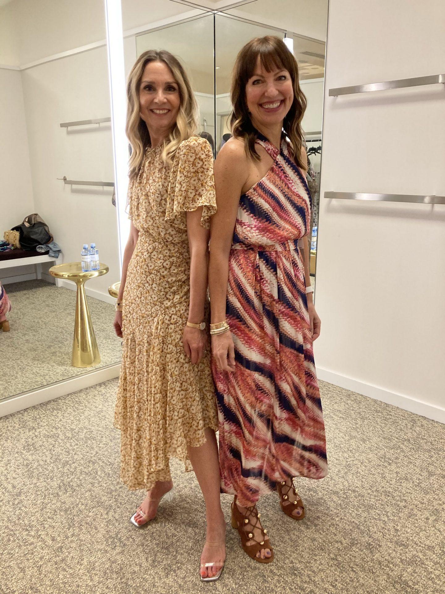floral dress and halter maxi dress